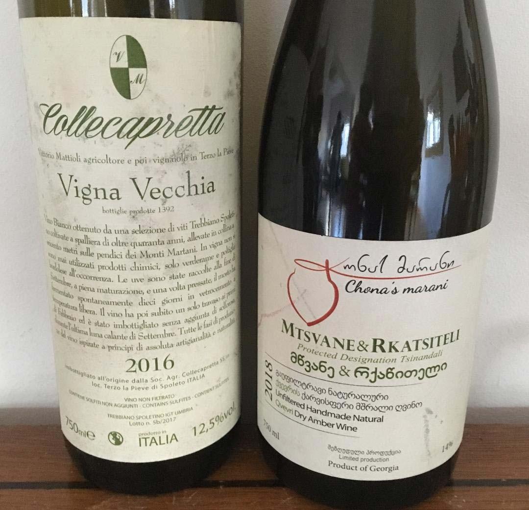 2016 Collecapretta Vigna Vecchia and 2018 Chona's Marani's Mtsvane & Rkatsitel