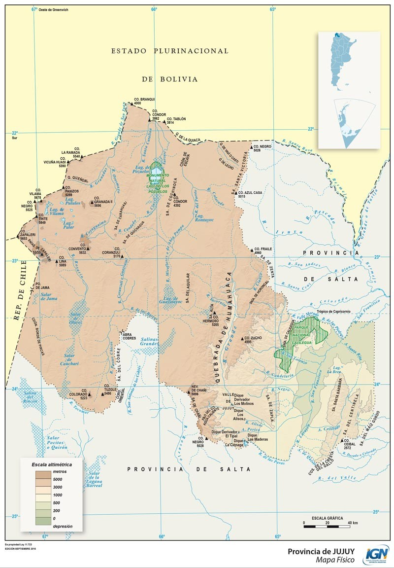 Map of Jujuy Province, Argentina